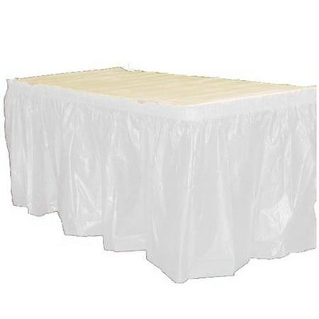 Table Skirts Plastic (Premium 6 Pack White Plastic Table Skirt, 14 ft x 29)