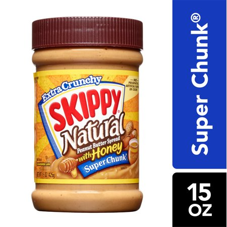 Skippy Natural Super Chunk Peanut Butter Spread with Honey, 15 Ounce