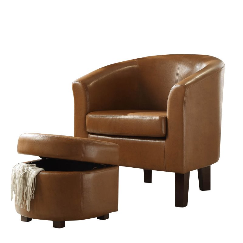 4D Concepts Laguna Club Chair with Storage Ottoman in Havana Brown