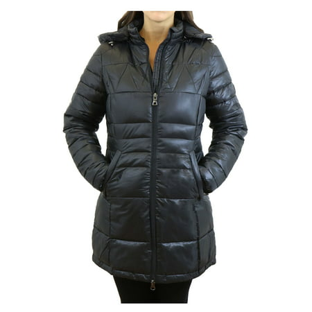 Women's Silhouette Style Puffer Jacket With Detachable Hood - Slim-Fit Design