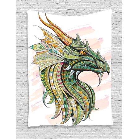 Celtic Tapestry, Head of Legend Dragon with Ethnic African Ornate Effects on Grunge Backdrop Mythical, Wall Hanging for Bedroom Living Room Dorm Decor, Multicolor, by - Dragon Hanging