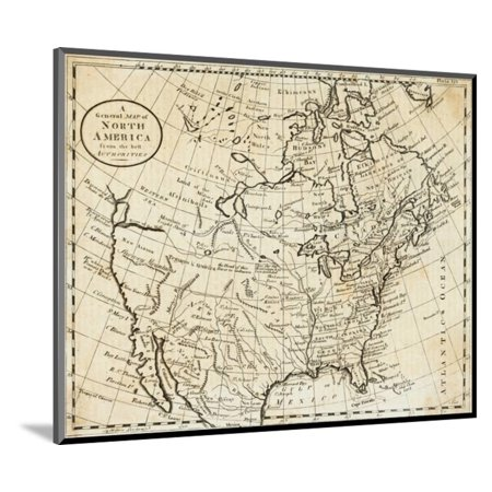 Map Of North America Wood Mounted Print Wall Art