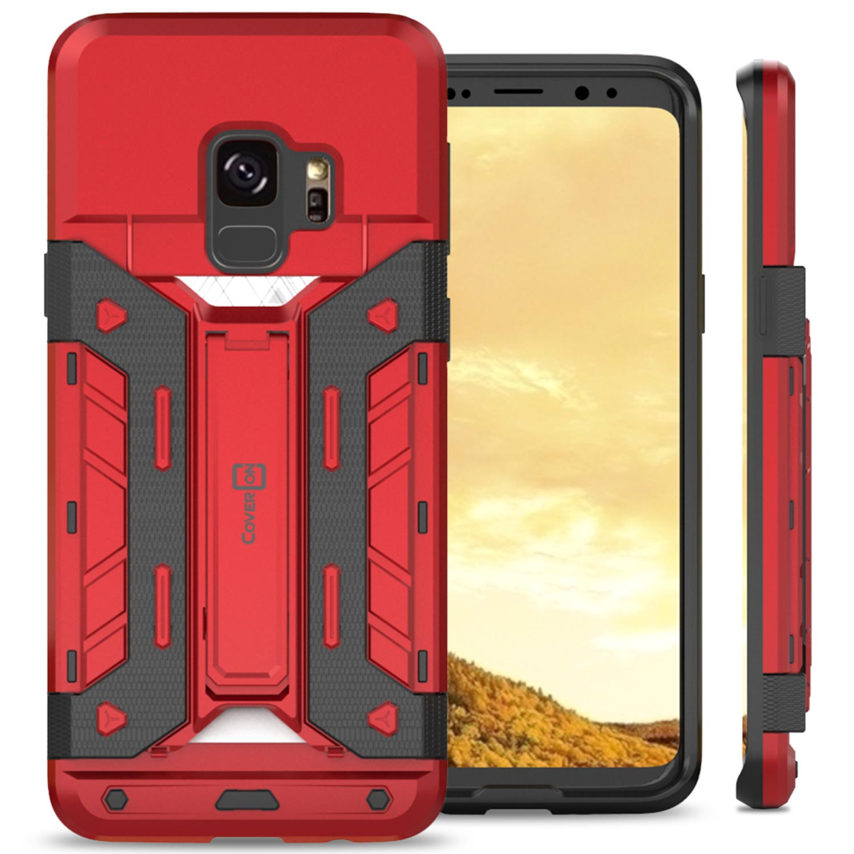 CoverON Samsung Galaxy S9 Case, SlideCard Series Slim Protective Kickstand Phone Cover