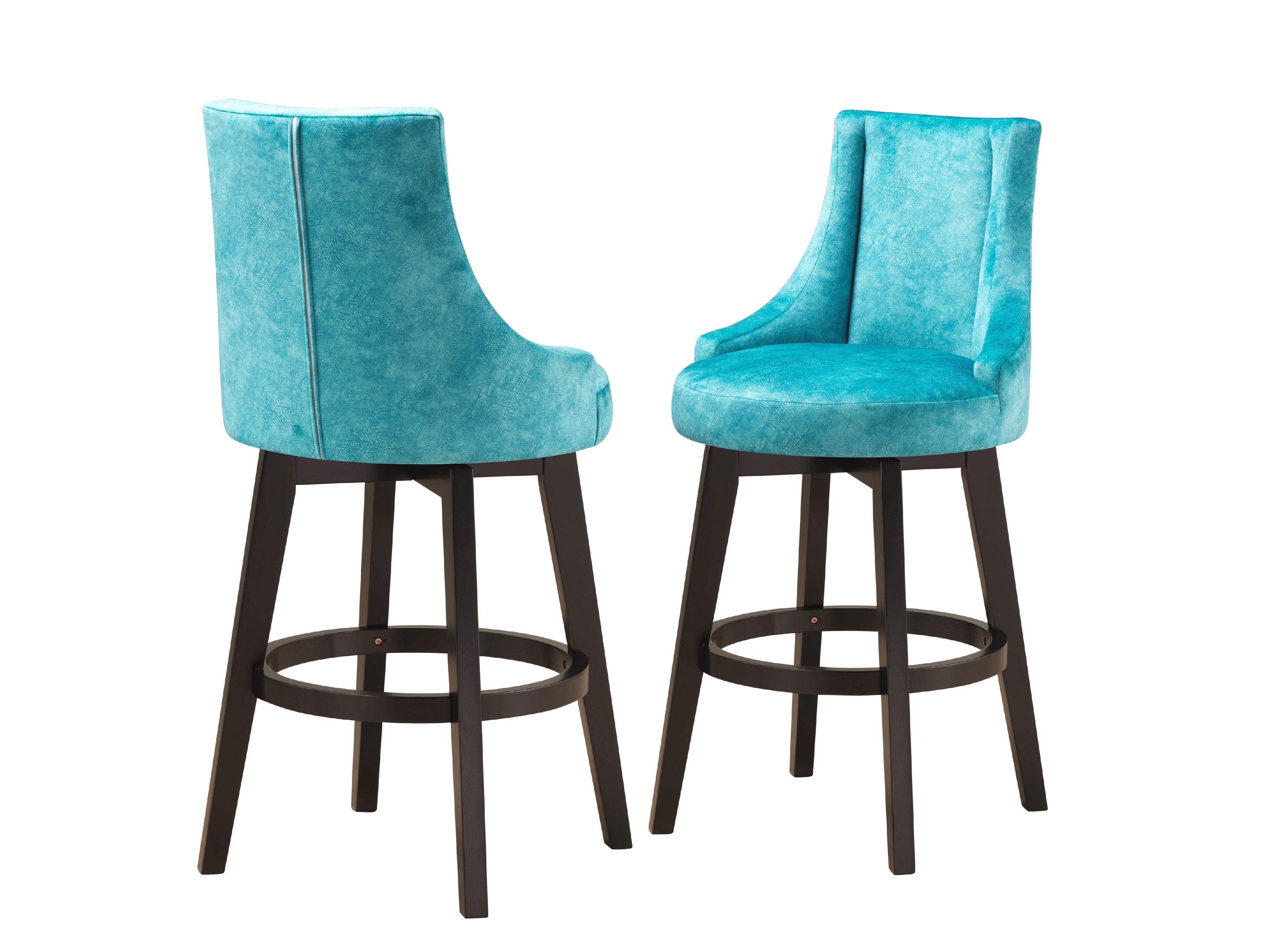 Picture of: Walden 30 H Swivel Bar Stools Upholstered Light Blue Fabric Cappuccino Wood Legs Set Of 2 Walmart Com Walmart Com