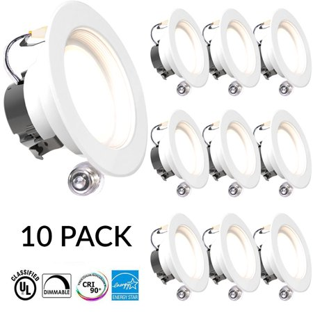 Sunco Lighting 10 Pack 4 Inch Baffle Recessed Retrofit Kit LED Light Fixture, 11W (40W Replacement), 5000K Kelvin Daylight, 660 Lumen, Dimmable, Quick/Easy Can Install, Wet (4 Inch Led Recessed Lighting New Construction)