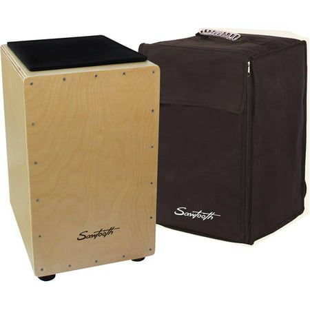 Sawtooth Birch Wood Cajon with Padded Seat Cushion and Carry