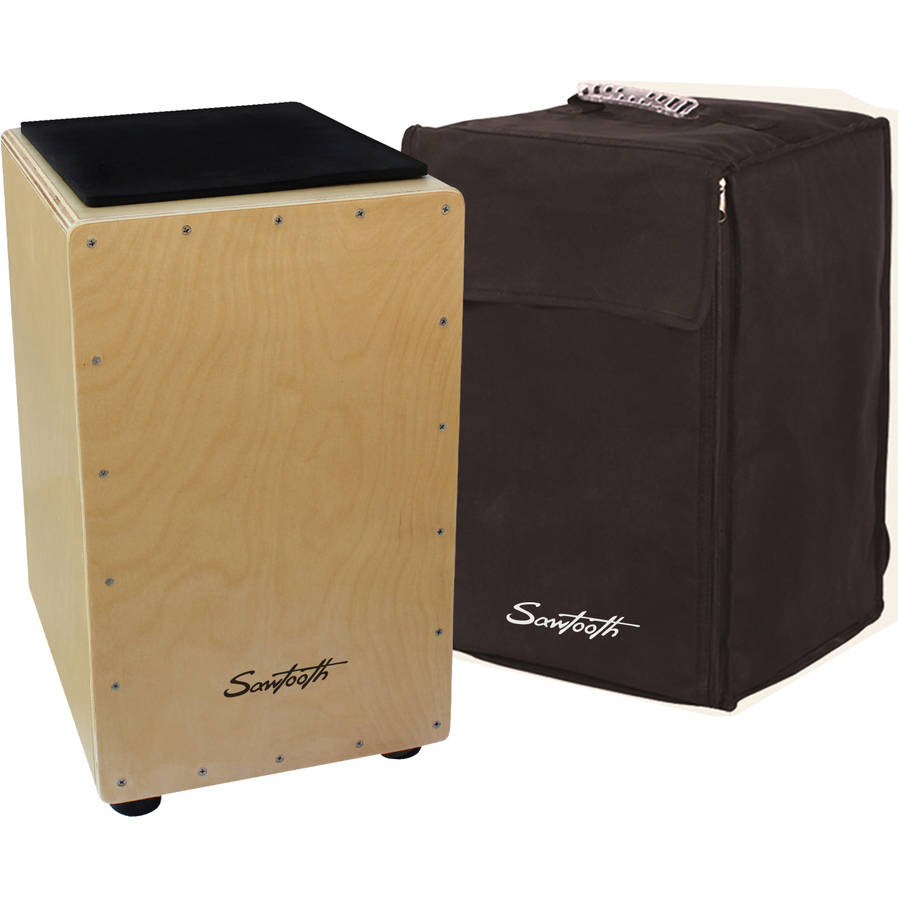 Sawtooth Birch Wood Cajon with Padded Seat Cushion and Carry Bag