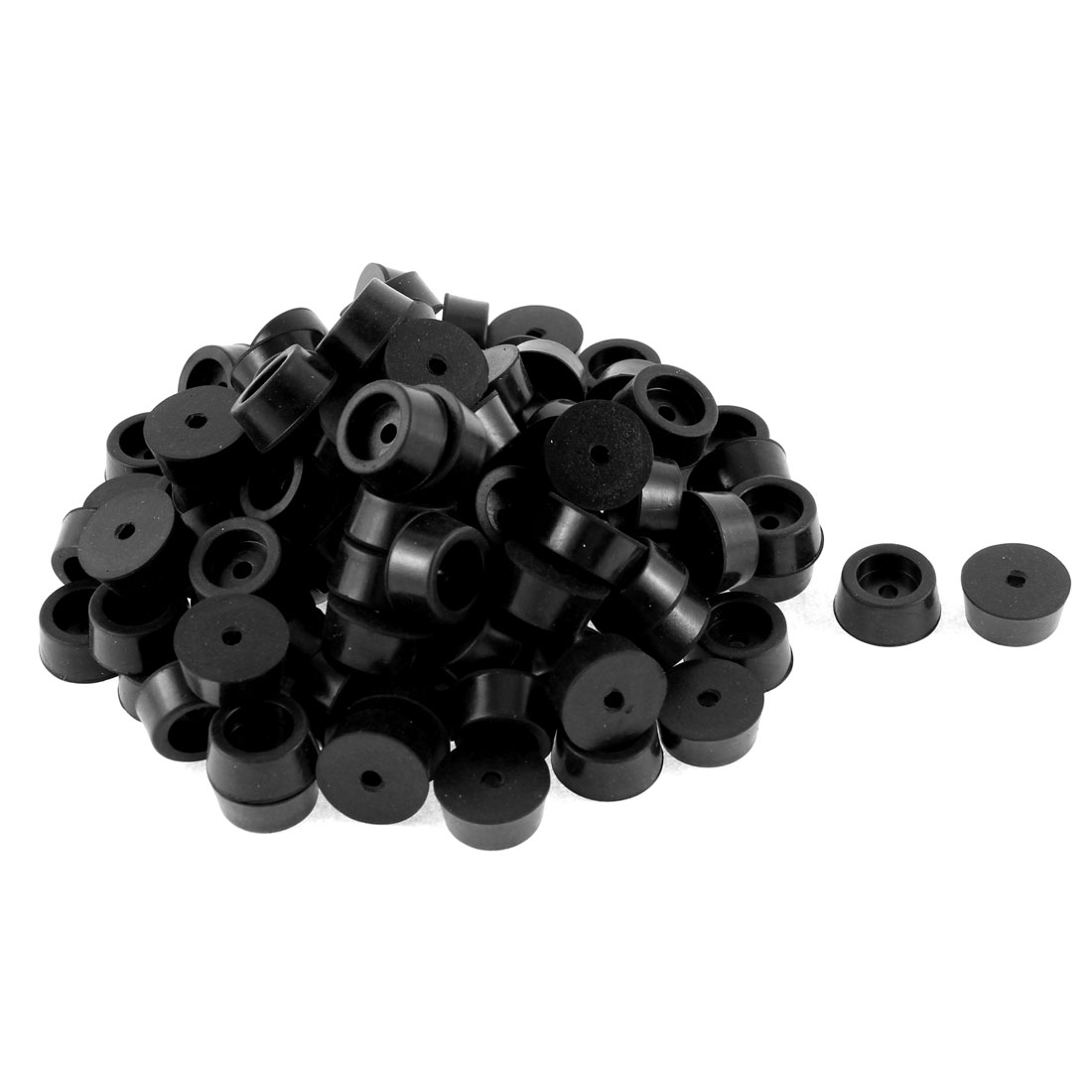 104 Pcs 11mm Dia Hole Furniture Table Chair Rubber Foot Pad Mat Black