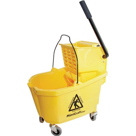 MintCraft 9130 Mop Bucket With Ringer, 32 qt Capacity, Plastic, Yellow