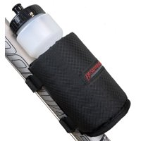 Bushwhacker Olympia Insulated Bicycle Water Bottle Holder w/ 28 Ounce Bottle - Mounts with Straps No Tools Hardware Screws Required - Attaches to Top Down Seat Tube - Bike Cage Cycling Mount