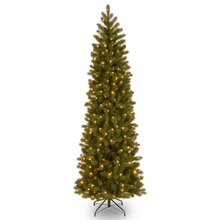 National Tree Pre-Lit 7-1/2' Feel-Real Down Swept Douglas Fir Pencil Slim Hinged Artificial Christmas Tree with 350 Low Voltage Dual LED Lights ()