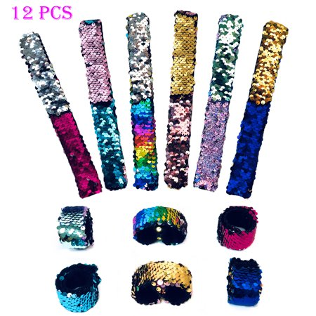 12 PCs Reversible Sequins Slap Bracelets for Girls Kids - Mermaid Theme Snap Wristbands Bracelet Pack - Great Party Favors - Snap Wristbands