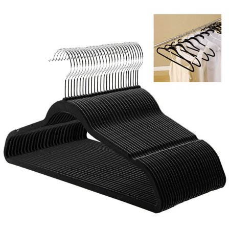 Black Velvet Non-Slip Clothes Clothing Hangers - Available in Multiple Packs 50-200 Pcs Black / Purple Velvet Non-Slip Thin Clothes Clothing Hangers Space Saving Closet Storage Helper HouseholdFeatures:  100% Brand new and high quality! Ultra-slim, space-saving design locked non-slip surface is gentle on garments & prevents slipping & creasing Hang wet garments without colors running Gentle curves Preserve the shape of clothing Help eliminate shoulder bumps U Notches at the top of arms hold strapped garments in place Specification: Condition:brand new MaterialABS plastic+flocked +chrome hook Color: black and purple Size: 45x0.6x24.5cm Qty: 50 /100/120/200 pcs Package Included:  1 x Hanger Set The product showed has different kinds of package quantities. 50 /100/120/200 packed. Please choose it as you like. Any information uncertain , please contact us, Many thanks.