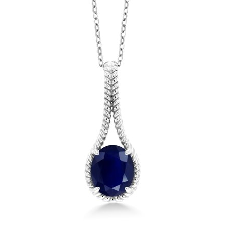 5.00 Ct Oval Blue Sapphire 925 Sterling Silver Pendant With Chain