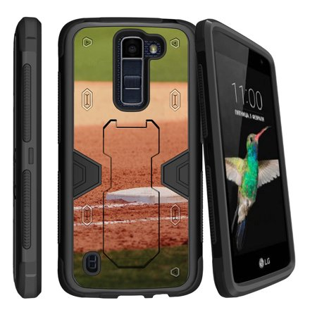 LG K7 | LG Tribute 5 Dual Layer Shock Resistant MAX DEFENSE Heavy Duty Case with Built In Kickstand - Home Plate