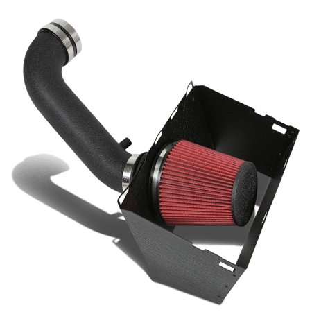 (For 09-14 Dodge Ram 5.7 HEMI Black Cold Air Intake Pipe+Heat Shield+Filter System 10 11 12 13)