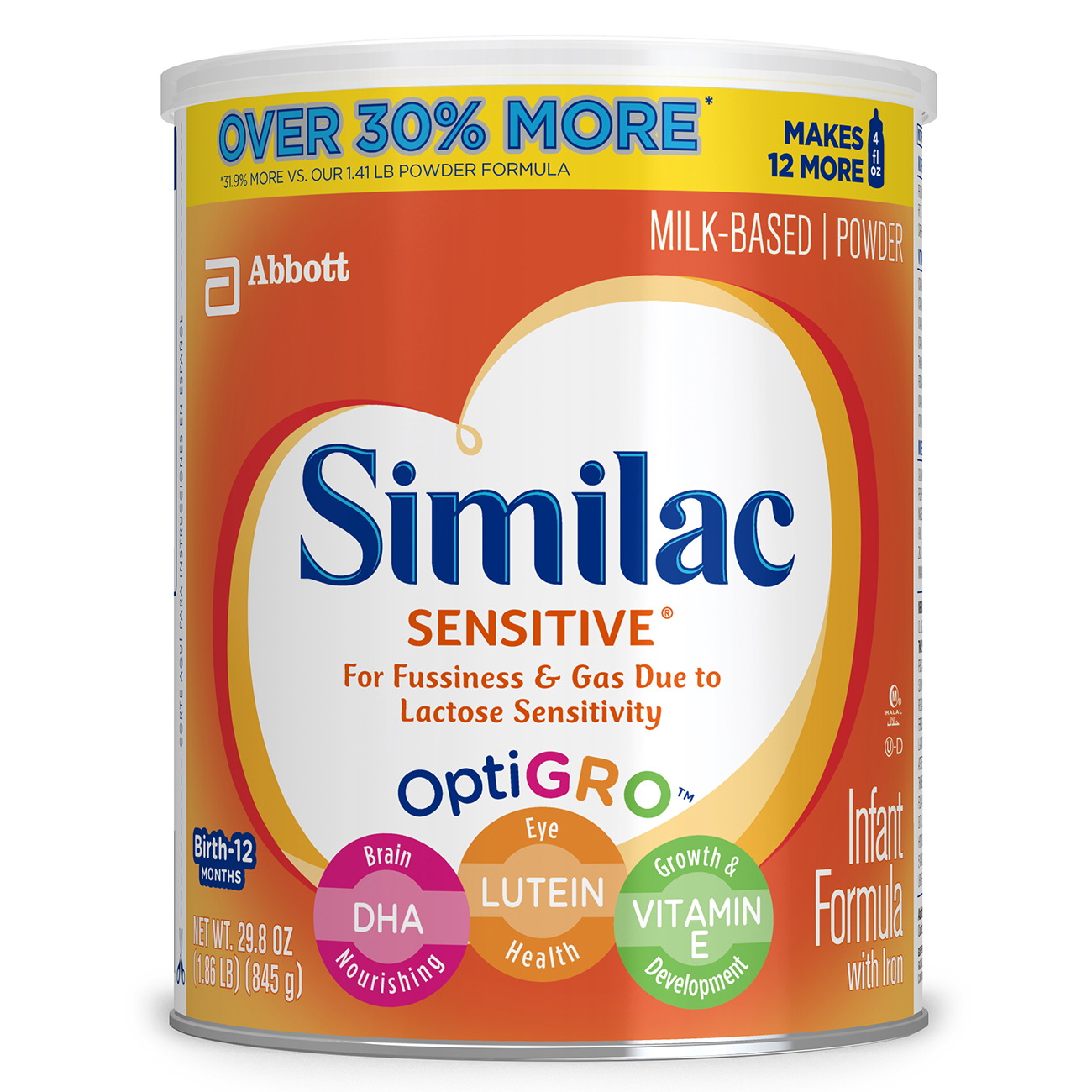Similac Sensitive Infant Formula with Iron, Powder, 1.86 lb (Pack of 6) by Similac