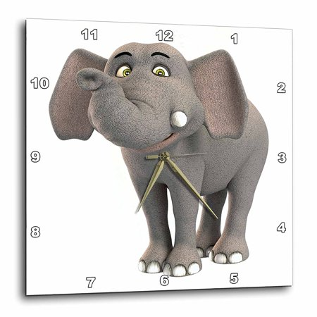 3dRose A baby cartoon elephant smiling, Wall Clock, 15 by - Smiling Elephant