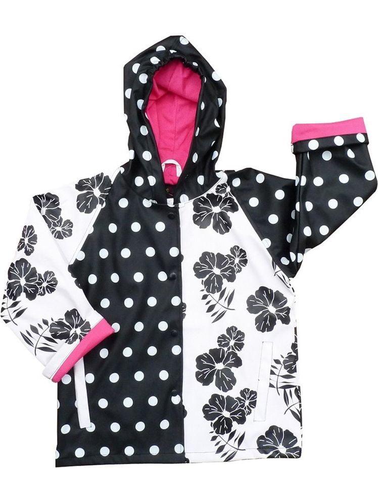 Girls Black White Rain Coat 5