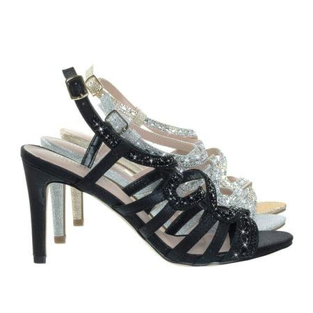 Evening High Heels - Rita6 by Blossom, High Heel Open Toe Evening Party Dress Sandal w Rhinestone & Glitter