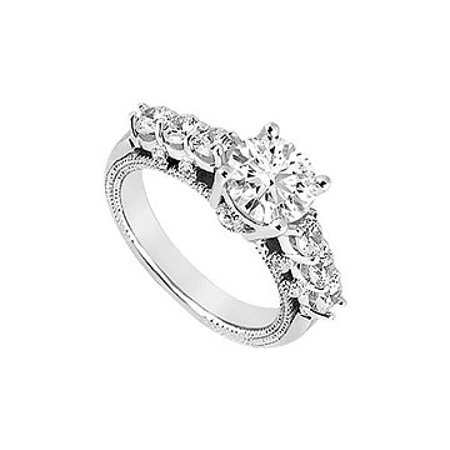 9a51143de1f5b4 1 Carat Engagement Ring of Triple AAA Quality CZ in 14K White Gold 1 Carat  Total ...
