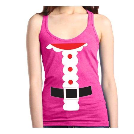 Shop4Ever Women's Santa Suit Costume Christmas Merry Xmas Racerback Tank (Christmas Tank Top)