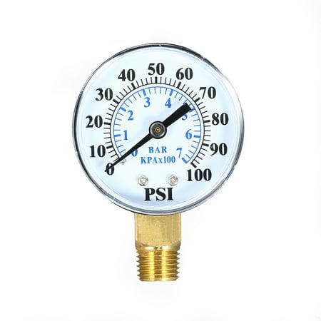 0~100psi 0~7bar Dual Scale Mechanical Pressure Gauge Pool Filter Aquarium Water Air Gas Pressure Gauge Meter 1/4 inch NPT Bottom (Pool Filter Pressure Gauge Air Relief Valve)