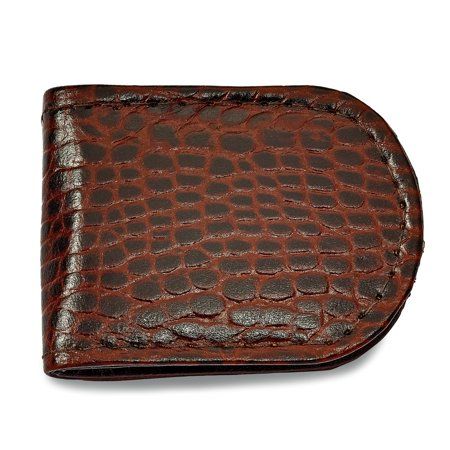 Solid Brown Leather Crocodile Grain Slim Business Credit Card Holder Money Clip 2.5