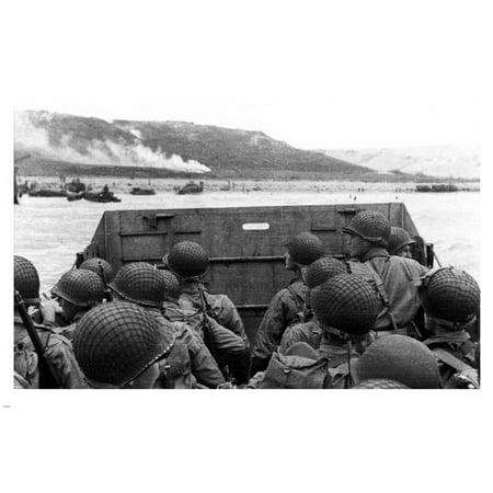 Marines Beach Landing Poster 24X36 Ww2 War History B/W Photo Guns Helmets - German Ww2 Propaganda Posters