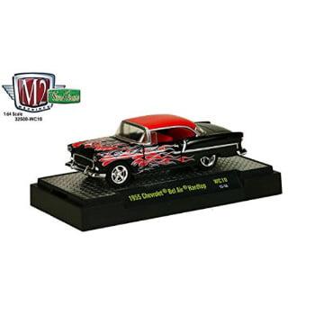 1955 Bel Air Hardtop (New 1:64 WILD-CARDS SERIES 10 ASSORTMENT - Black 1955 CHEVROLET BEL AIR HARDTOP Diecast Model Car By M2)