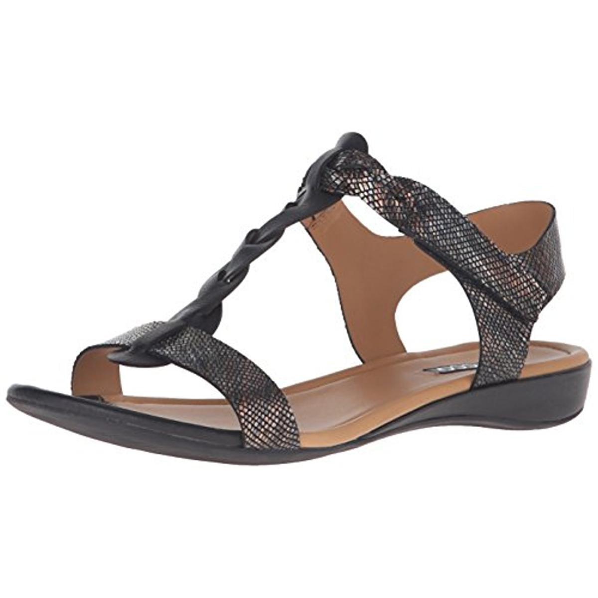 ECCO Womens Bouillon II Leather Mini Wedge T-Strap Sandals by Ecco