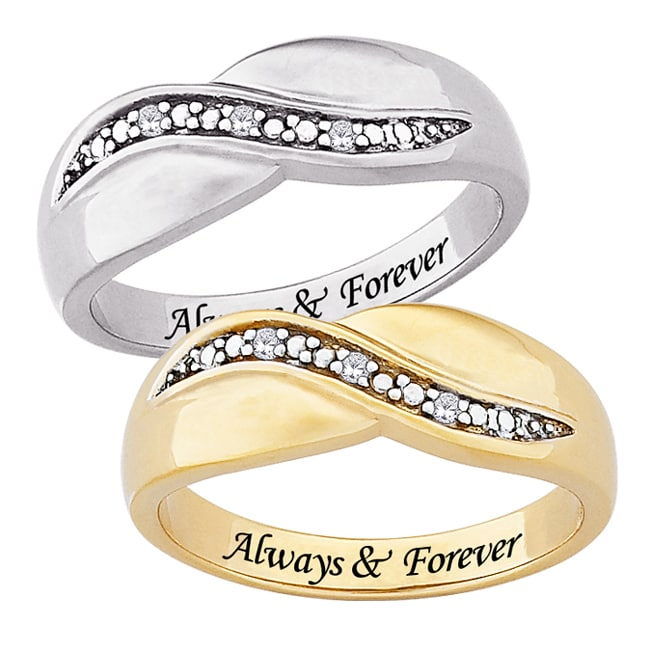 MBM Sterling Silver or 14k Gold over Sterling Silver 'Always & Forever' Engraved Diamond Ring