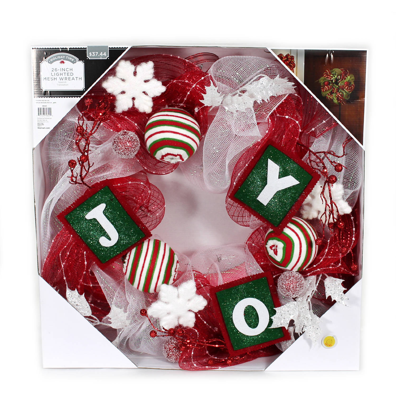 """Holiday Time Christmas Decor 26"""" LED Lighted Red and White Mesh Wreath"""