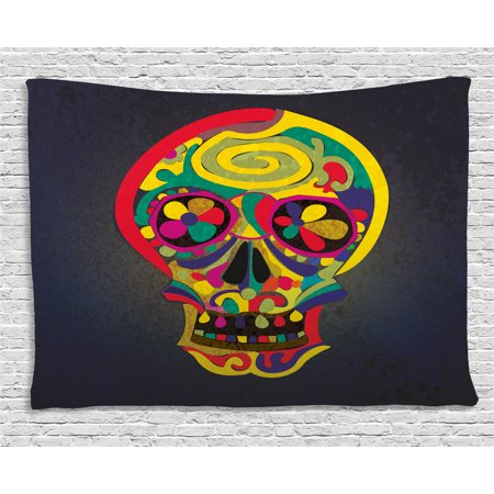 - Skull Tapestry, Artistic Colorful Hand Drawn Skull Illustration with Abstract Flowers Creative Motifs, Wall Hanging for Bedroom Living Room Dorm Decor, 60W X 40L Inches, Multicolor, by Ambesonne