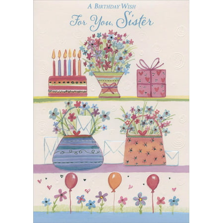 Designer Greetings Cake, Flowers, Gift, Purses and Balloons: Sister Birthday (Best Birthday Greeting Cards For Sister)