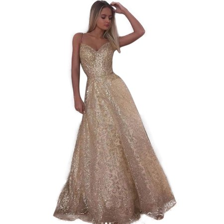 Women Floral Strappy Backless Wedding Sleeveless V Neck Long Maxi Sequins Dress Prom Party (Strappy Prom Gowns)
