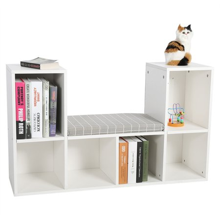 Dilwe Cube Storage Organizer Bookcase,Multi-functional Wooden Storage Shelf Bookshelf Bookcase with Reading Nook Holder Decor Rooms](White Cubby Shelf)
