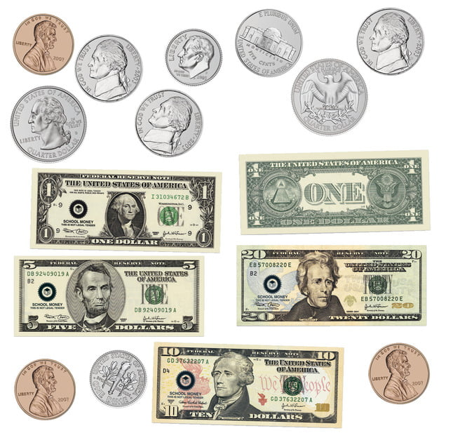 Learning Resources Double-Sided Magnetic American Money, 45 Pieces