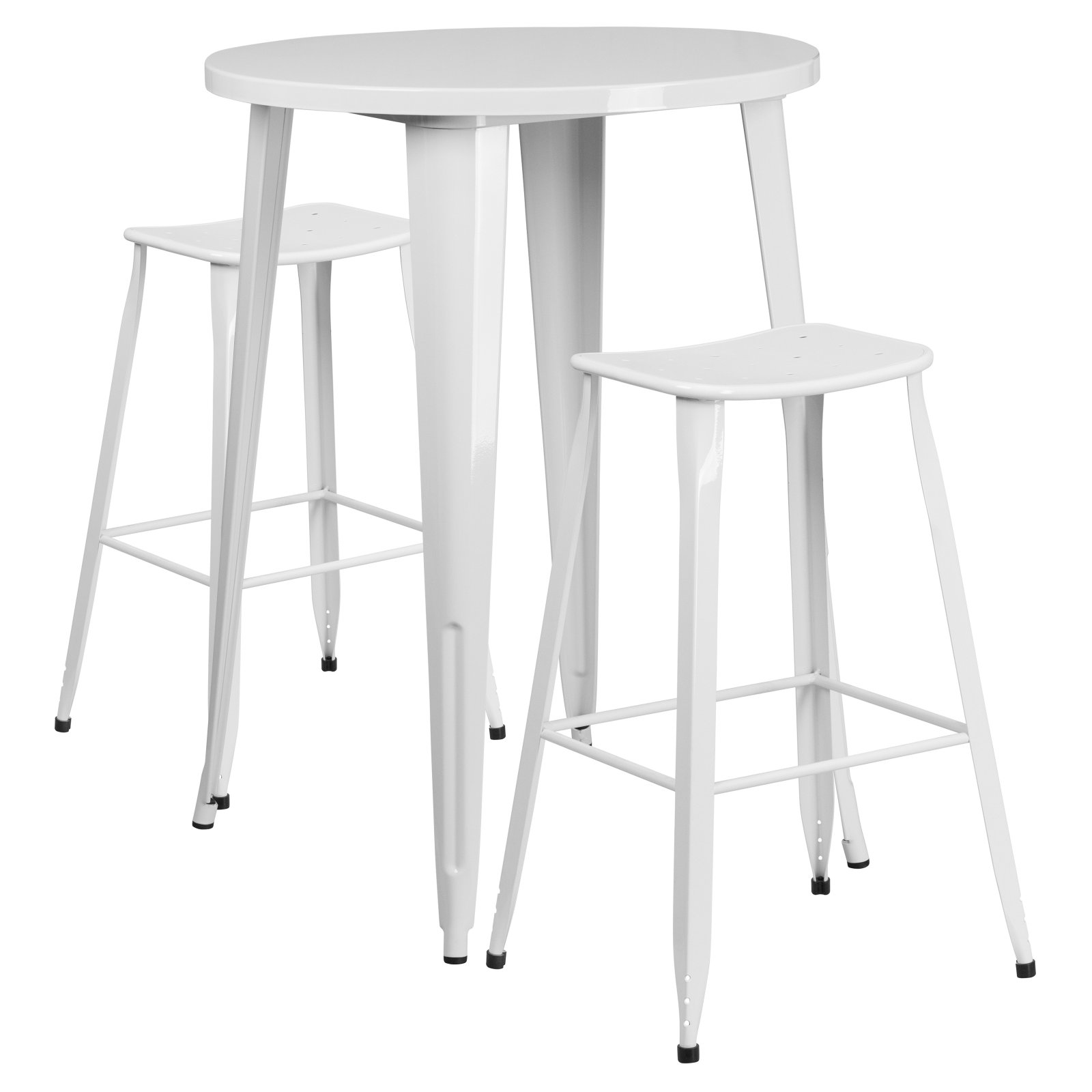 Flash Furniture 30'' Round White Metal Indoor-Outdoor Pub Table Set with 2 Backless Saddle Seat Bar Stools by Flash Furniture