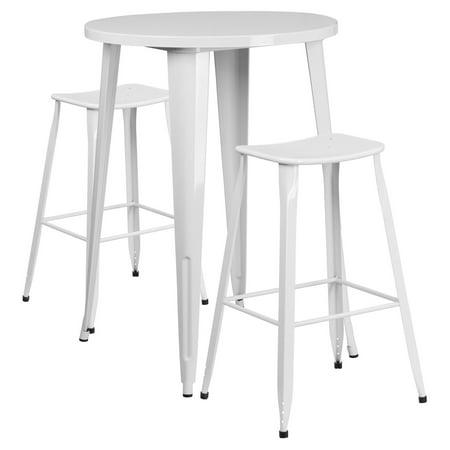 Flash Furniture 30 Round White Metal Indoor Outdoor Bar