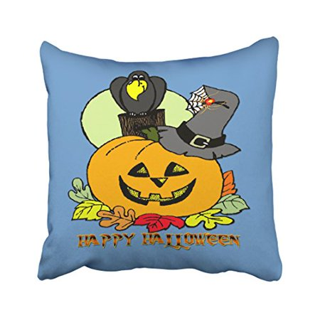 WinHome Cartoon Fashion Happy Halloween Pumpkin Crow Pattern Polyester 18 x 18 Inch Square Throw Pillow Covers With Hidden Zipper Home Sofa Cushion Decorative Pillowcases - Halloween Pumpkin Ideas Patterns