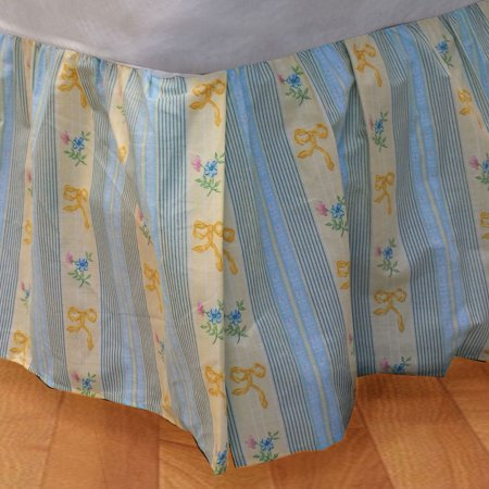 (Yellow Ribbons and Flowers Twin Bed Dust Ruffle Floral Bedskirt Bedding Accessory)