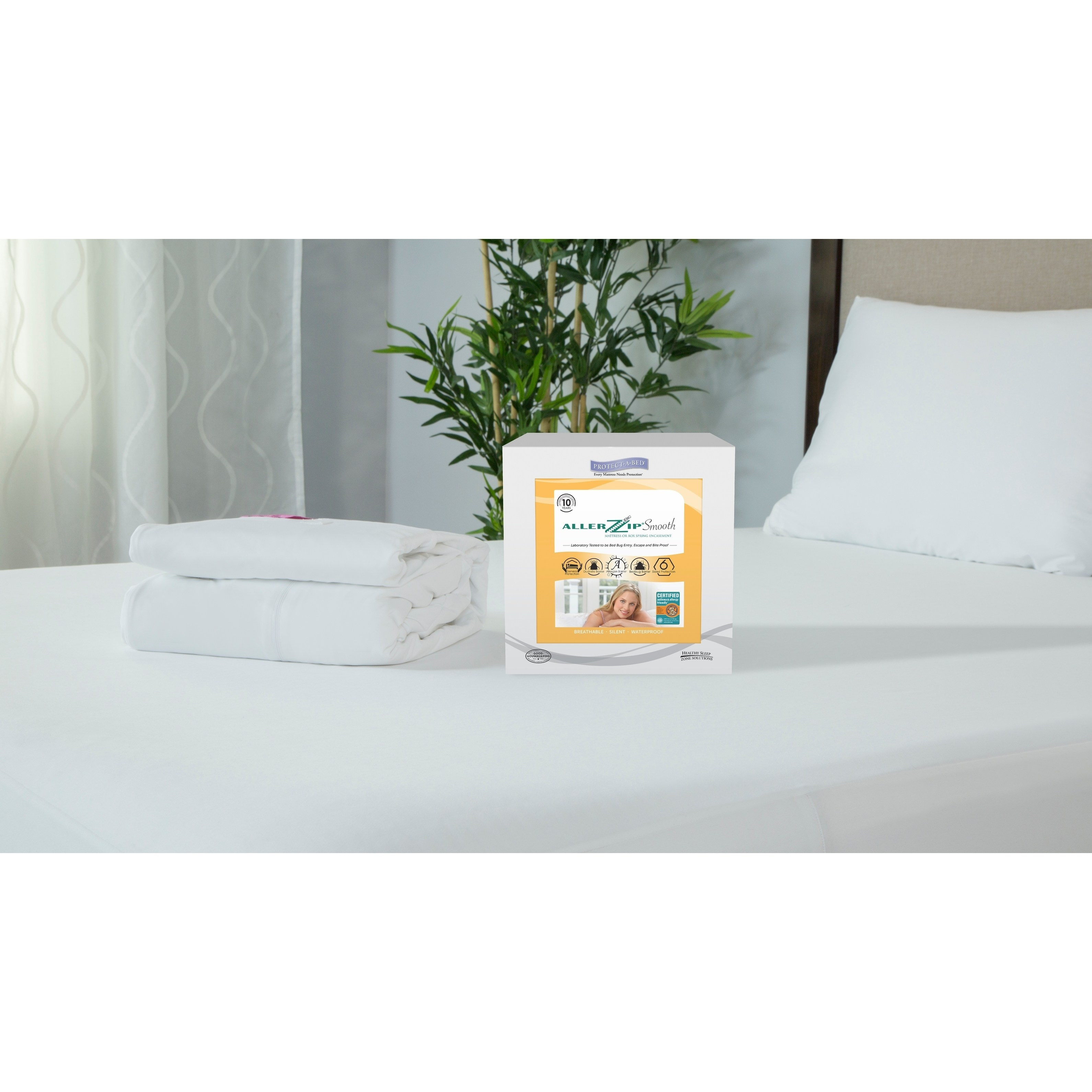 "Protect-A-Bed  ALLERZIP Smooth TWIN XL 13"" Mattress Encasement - White"