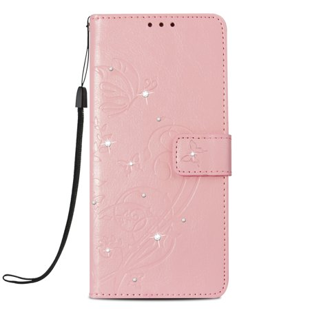 Ustyle Replacement for iPhone Xs Max Rhinestone Case Flip Wallet Cover Phone Holder Elegant Solid PU Leather Cover - image 1 of 9