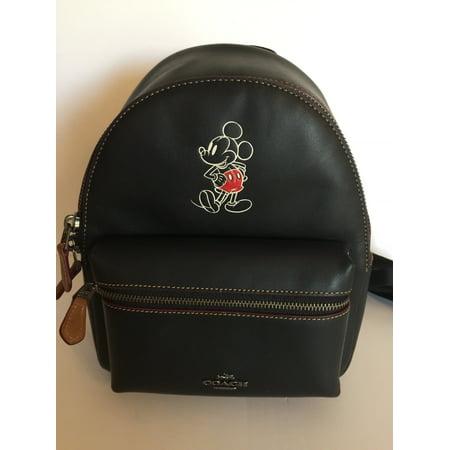 7f850020142 Coach - Disney X Coach Mickey Leather Mini Charlie Black Backpack ...
