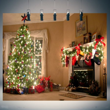 7x5FT Christmas Tree Fireplace Photo Studio Props Photography Background Backdrop Vinyl - Christmas Photo Backgrounds