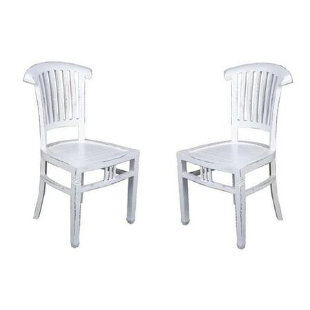 Set Whitewash - Sunset Trading CC-CHA006LD-WW-2 Cottage Slat Back Chair, Whitewash - Set of 2