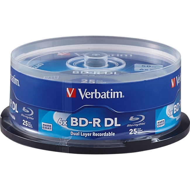 Verbatim BD-R DL 50GB 6x with Branded Surface, 25pk Spindle