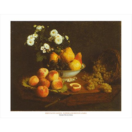 Flowers And Fruit On A Table by Henri Fantin-Latour 22x28 Art Print Poster Famous Painting Still Life Floral Fruit Bowl