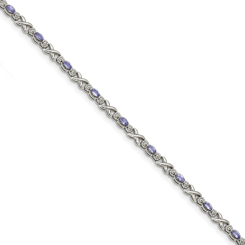 925 Sterling Silver Polished Tanzanite Xs 7.5 inch Bracelet by Diamond2Deal